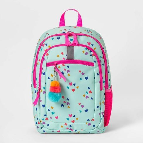 "17"" Mini Hearts Kids' Backpack Light Green/Pink - Cat & Jack™ - image 1 of 2"
