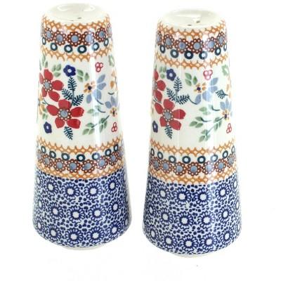 Blue Rose Polish Pottery Red Daisy Salt & Pepper Shakers