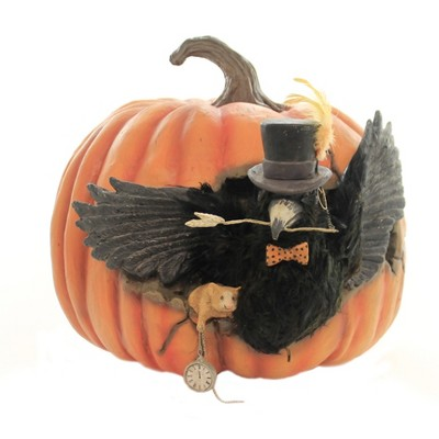 "Halloween 12.25"" Cawing Pumpkin Bird Mouse Clock  -  Decorative Figurines"