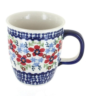 Blue Rose Polish Pottery Red Poppy Coffee Mug