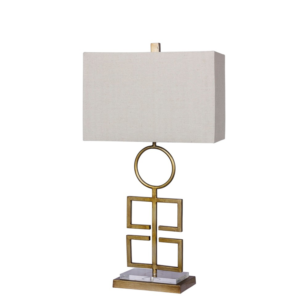 Totemic Modern Cut Out Antique Metal & Clear Acrylic Table Lamp Antique Gold (Lamp Only) - Fangio Lighting