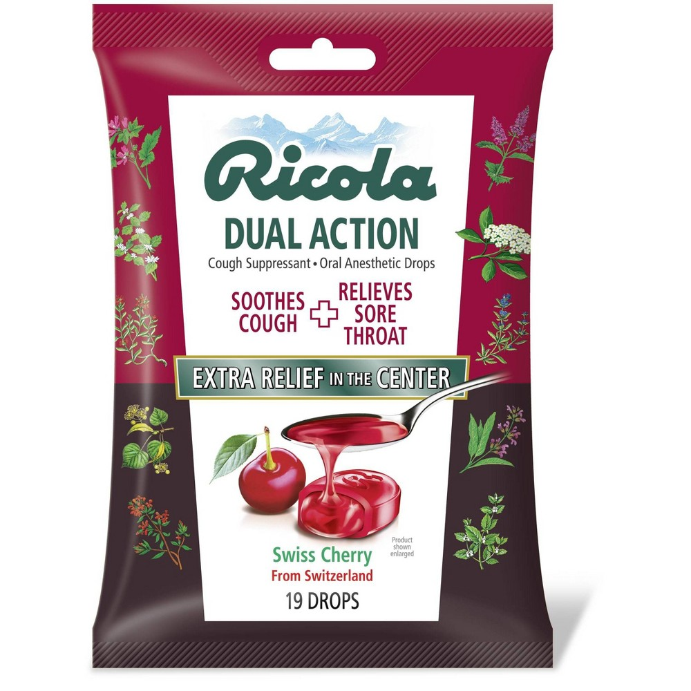 Ricola Dual Action Cough Drops Cherry 19ct