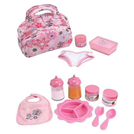 Melissa & Doug Doll Feeding and Changing Accessories - Bib, Bag, Diaper, Wipes, Utensils, Bottles image number null