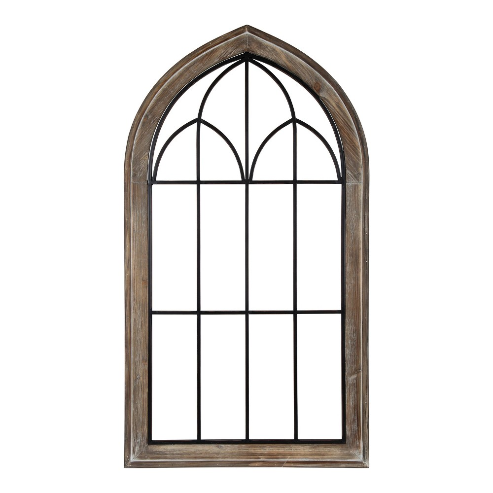 """Image of """"26.5""""""""x48"""""""" Rennel Window Pane Arch Wall Decor - Kate and Laurel, Brown"""""""