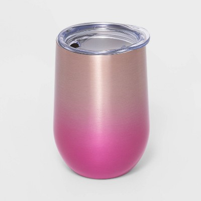 11oz Stainless Steel Wine Tumbler with Lid Ombre Pink - Sun Squad™