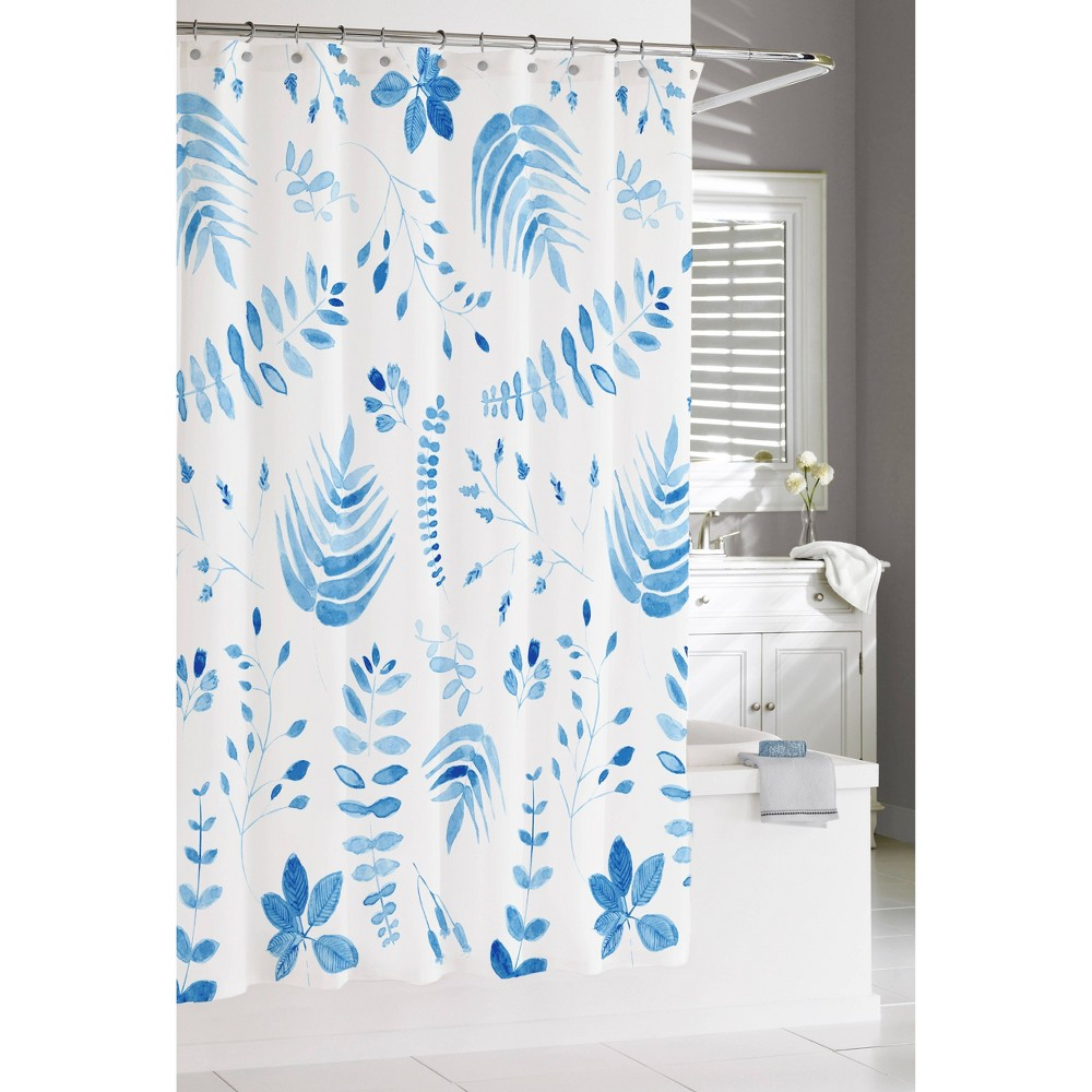"Image of ""72""""x72"""" Vine Showe Curtain Blue - Cassadecor, White Blue"""