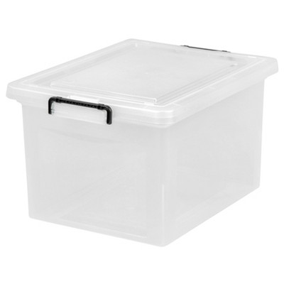 IRIS Letter and Legal Size File Box with Buckle Clear