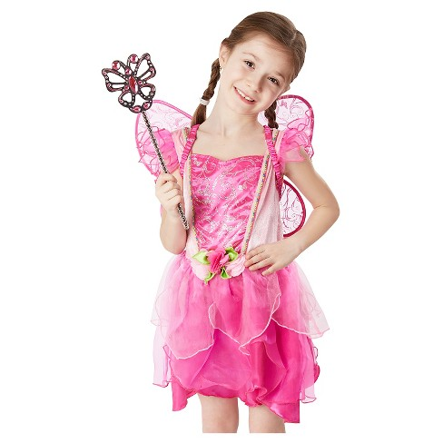 Melissa & Doug® Flower Fairy Role Play Costume Set (3pc) - Pink Dress, Wings, Wand - image 1 of 3