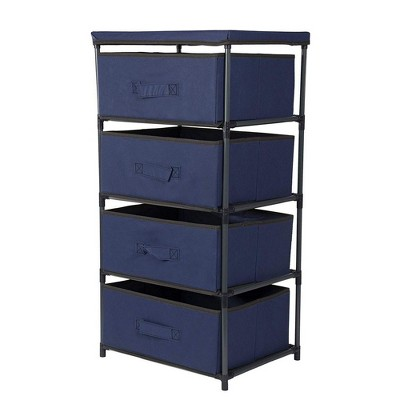 Juvale 4 Tier Dresser Drawers Organizer Tower, Fabric Chest of Storage Drawer Bins for Clothes, Blue 16.5x13 in