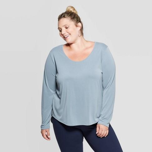 Women's Plus Size Long Sleeve Scoop Neck Sandwash Top - Ava & Viv™  - image 1 of 2