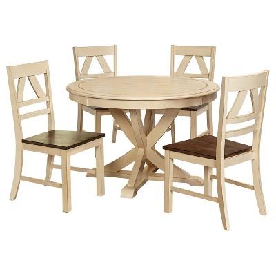 5 Piece Vintner Dining Set - Antique White - Oak - Target Marketing Systems