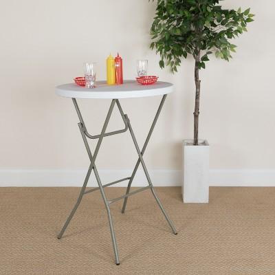 Flash Furniture 2.63-Foot Round Granite White Plastic Bar Height Folding Table
