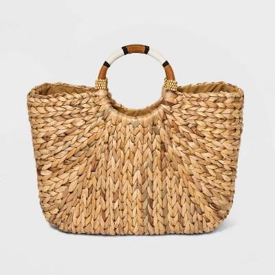 Straw Circle Handle Tote Handbag - A New Day™ Natural