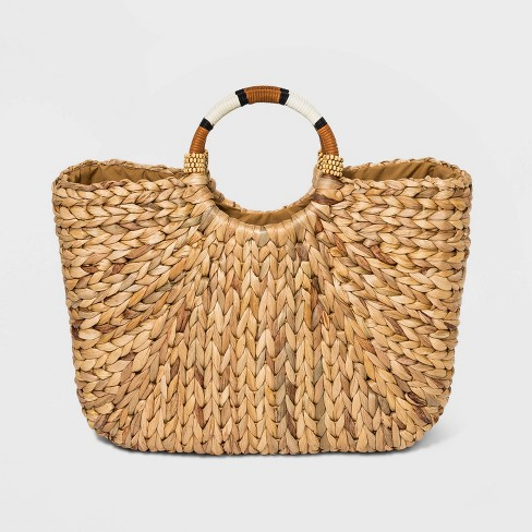 Straw Circle Handle Tote Handbag - A New Day™ Natural - image 1 of 2