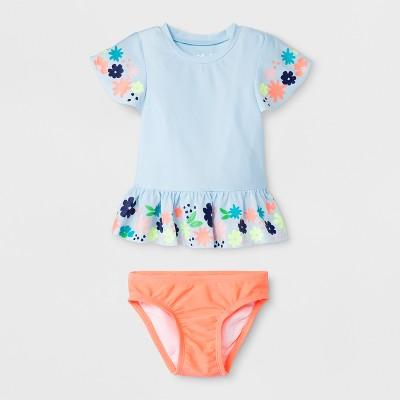 Baby Girls' Floral Short Sleeve Rash Guard Set - Cat & Jack™ Blue 18M