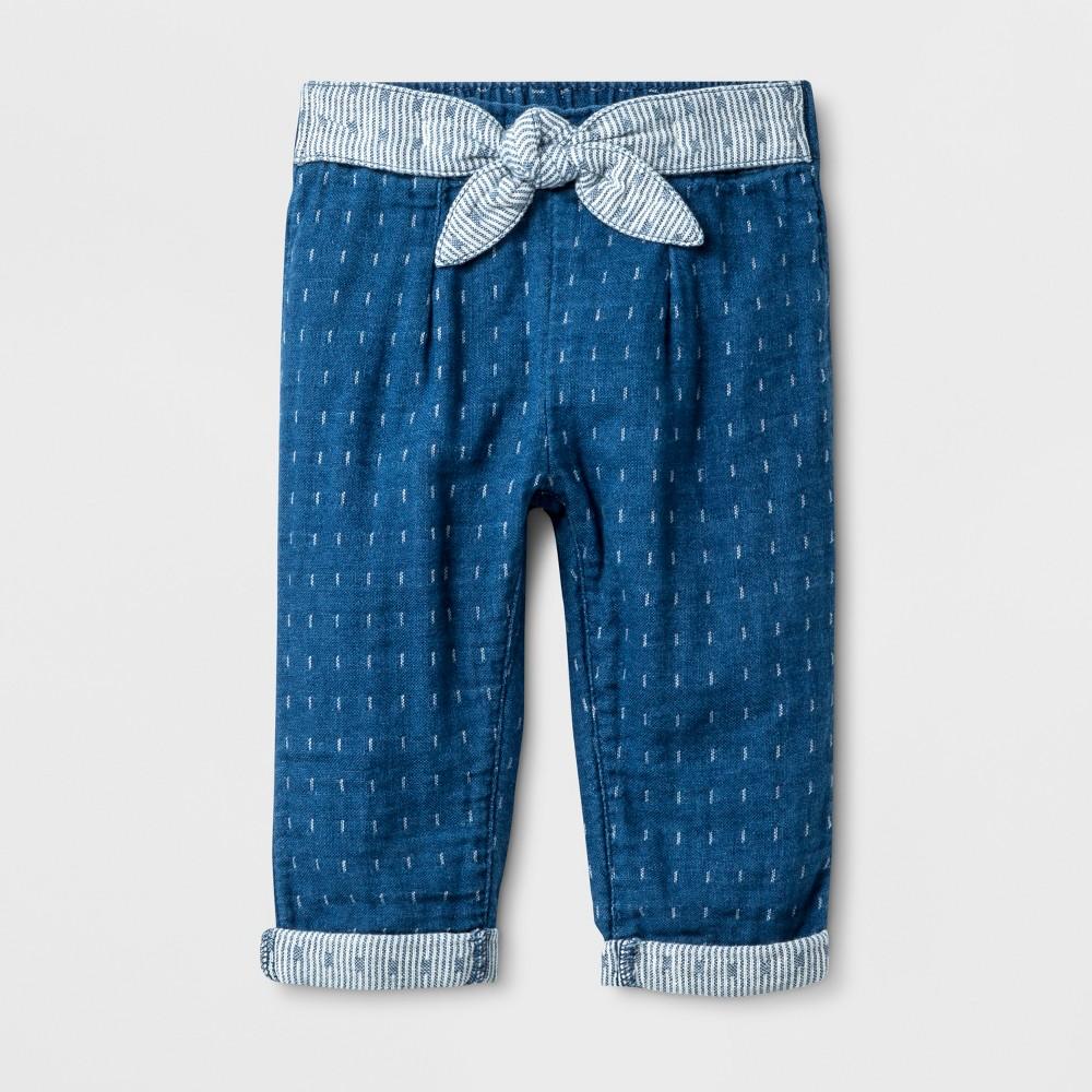 Baby Girls' Denim Tie Pants - Cat & Jack Blue 12M