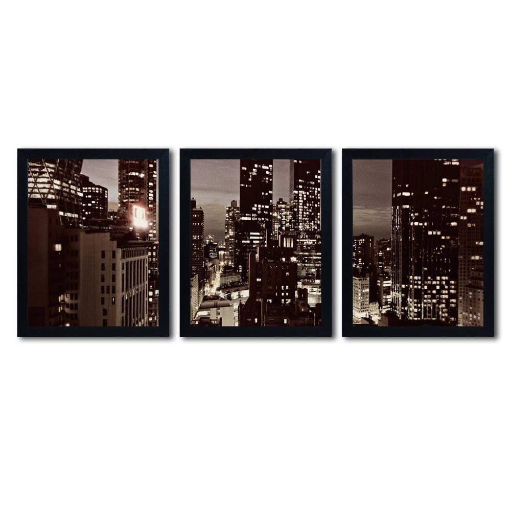 'nyc After Dark' by Ariane Moshayedi Ready to Hang Multi Panel Art Set, Black