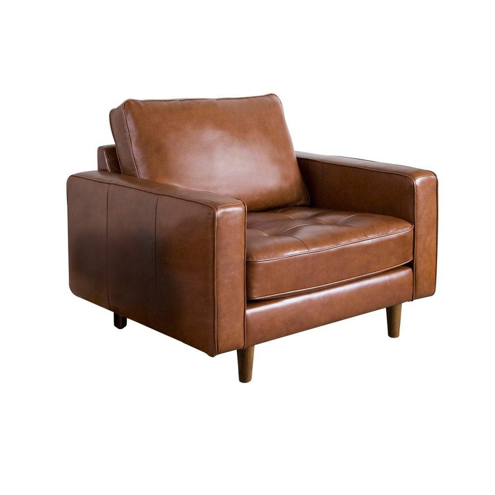 Calvin Mid Century Top Grain Leather Armchair Camel - Abbyson Living