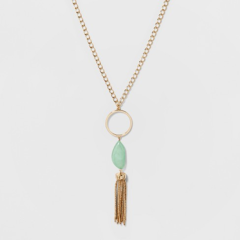SUGARFIX by BaubleBar Mixed Media Pendant Necklace with Tassels - Gold/Teal - image 1 of 3