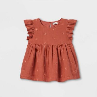 Girls' Flutter Sleeve Woven Blouse - Cat & Jack™