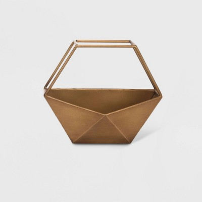 10  Geo Hexagon Metal Wall Planter Bronze - Foreside Home & Garden