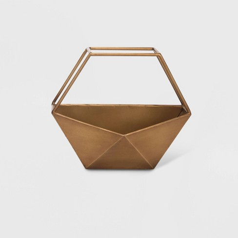 "10"" Geo Hexagon Metal Wall Planter Bronze - Foreside Home & Garden - image 1 of 2"