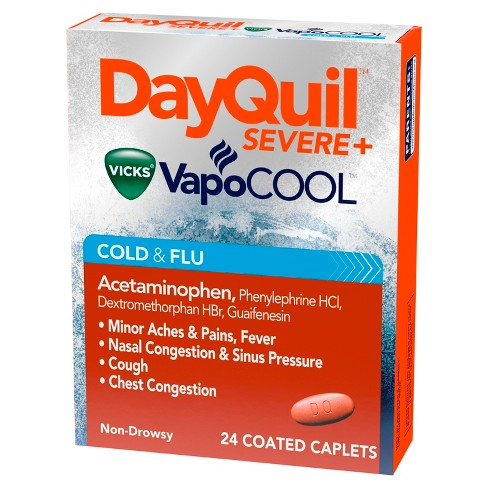 DayQuil Severe with Vicks VapoCOOL Cold & Flu Relief Caplets - Acetaminophen - 24ct - image 1 of 6
