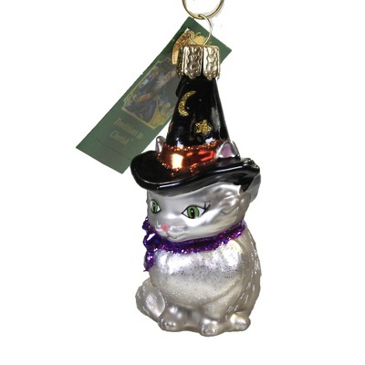 """Old World Christmas 3.25"""" Witch Kitten Halloween Black Hat  -  Tree Ornaments"""