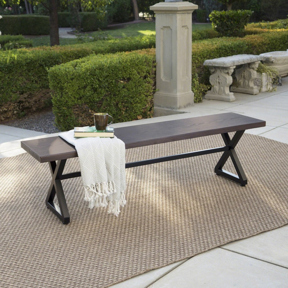 Rolando Aluminum Dining Bench Brown Christopher Knight Home