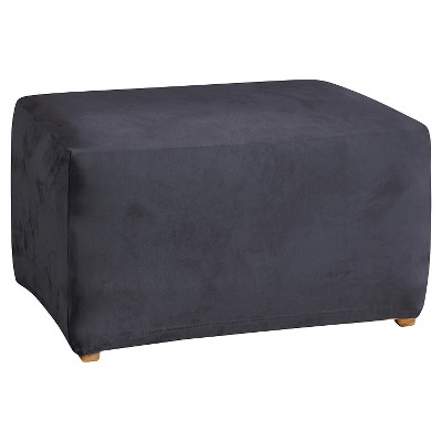 Stretch Suede Ottoman Slipcover Blue - Sure Fit