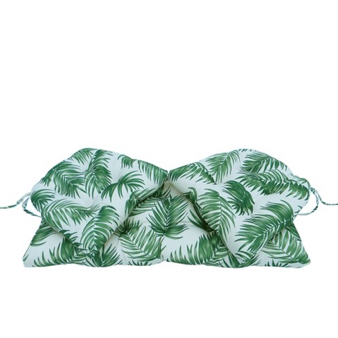 Northlight 19 Tropical Palm Frond Tufted Outdoor Patio Wicker Furniture Cushions 3pc Green White