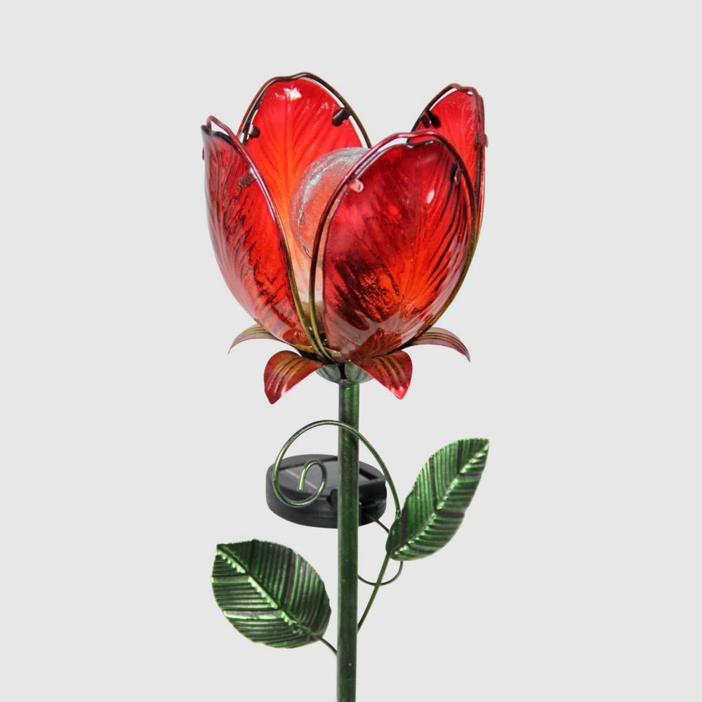 """36"""" Resin Solar Flower Garden Stake Red - Exhart"""