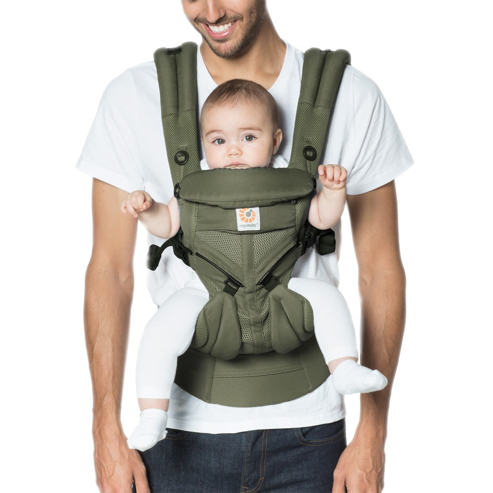 Image of Ergobaby Omni 360 Cool Air Mesh All Carry Positions Baby Carrier - Khaki Green, Green Green
