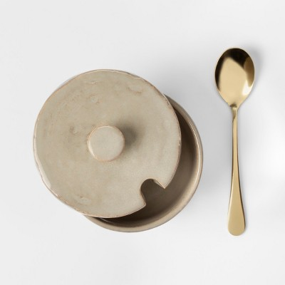 Cravings by Chrissy Teigen Stoneware Sugar Bowl with Metal Spoon in Acetate Box Tan