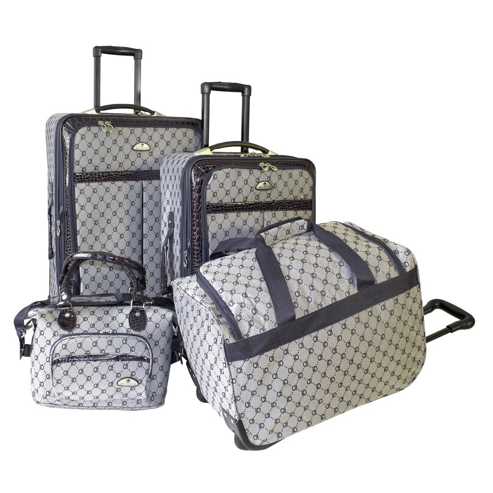 "Image of ""American Flyer Signature 4-Piece 24"""", 20"""", 18""""& 12"""" Soft Luggage Set - Navy, Blue"""