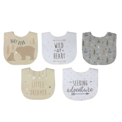Neat Solutions Boy Aspirational Sayings Printed Water-Resistant Lined Infant Bib Set - 5pk
