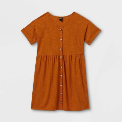 Girls' Flowy Button-Front Short Sleeve Dress - art class™