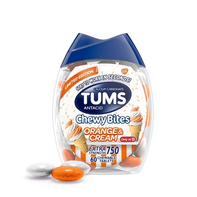 Tums Chewy Bites Orange and Cream Extra Strength Chewable Antacid for Heartburn - 60ct