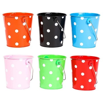 Juvale 6-Pack Mini Metal Buckets for Crafts and Party Favors, 6 Colors 3.9 x 3 x 4 in