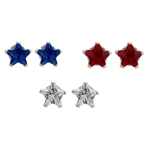 Journee Collection 3Ct T.W. Star Round-cut Cubic Zirconia Sterling Silver Prong Stud Earrings Set - image 1 of 2