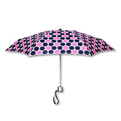 ShedRain Manual Compact Umbrella  - Navy Polka Dot