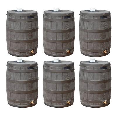 Good Ideas Rain Wizard 50 Gallon Plastic Rain Barrel Water Collector with Brass Spigot, Oak (6 Pack)
