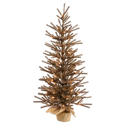 4ft Pre-Lit Chocolate Artificial Christmas Tree in Burlap Base with Warm White LED Lights - image 1 of 1