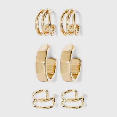 Ear Cuff and Hoop Earring Set 3pc - A New Day™ Gold