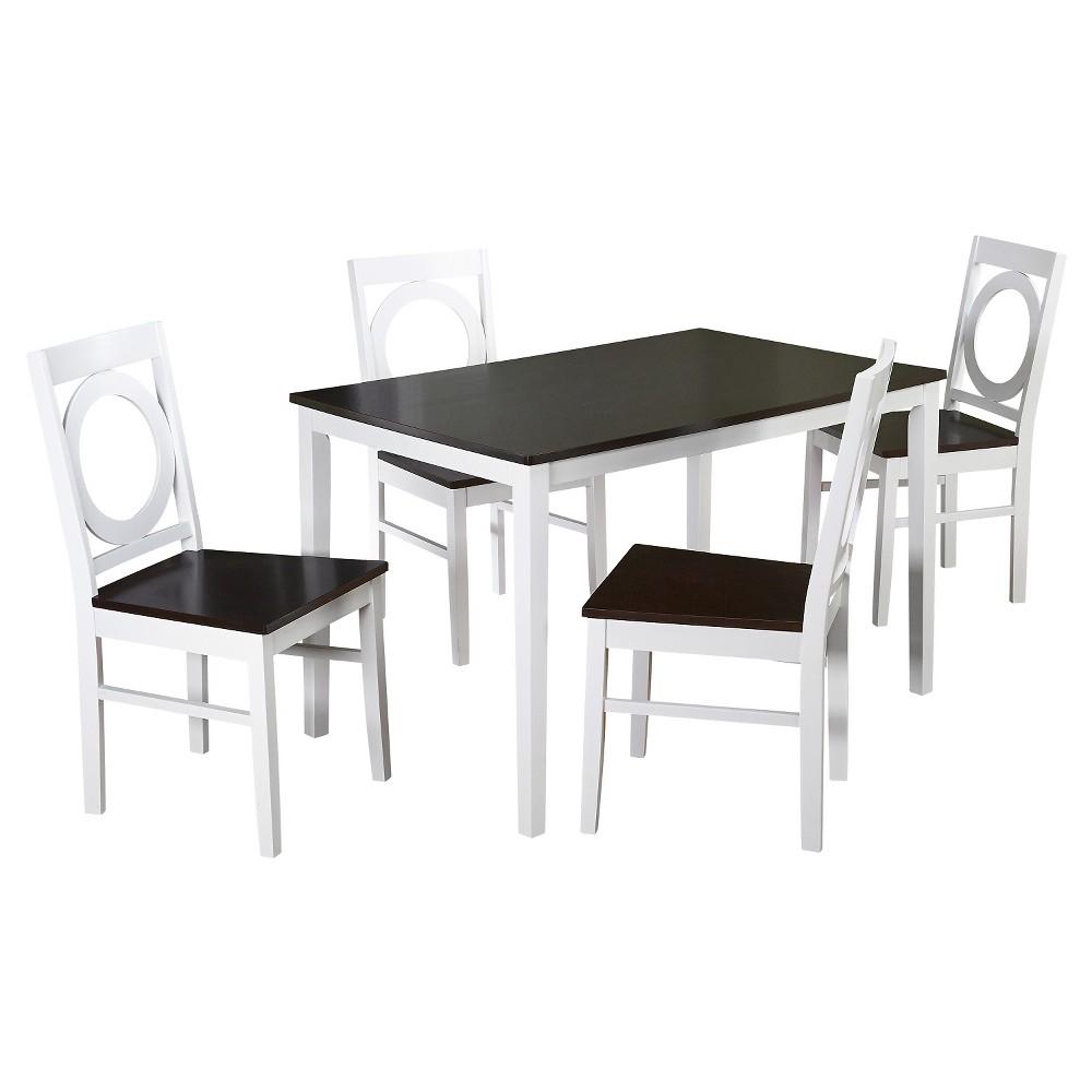 Catania Dining Set White/Mocha 5 Piece - Tms