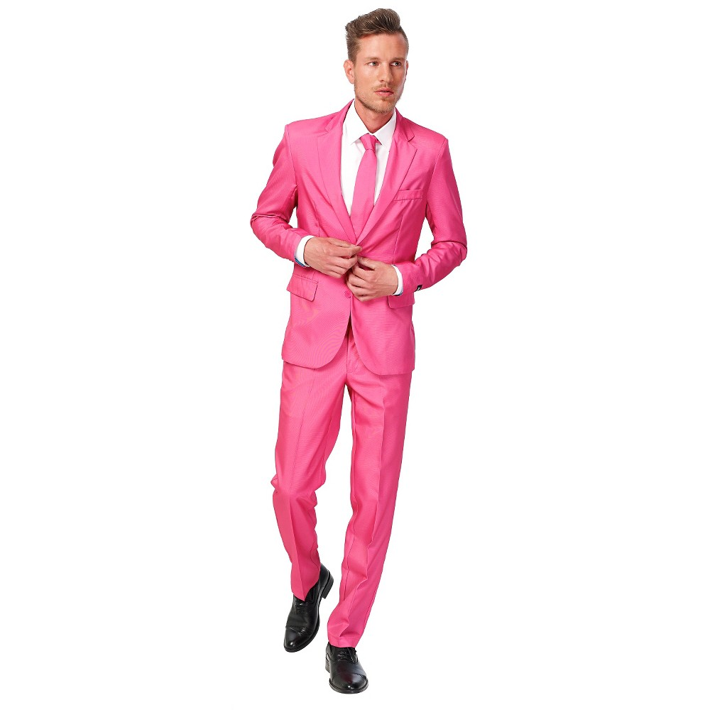 Image of Halloween Men's Suit Costume Pink - Small