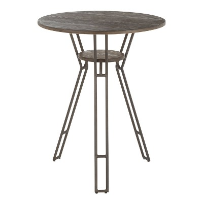 "28.5"" Folia Industrial Round Counter Table Metal and Bamboo Antiqued Brown/Espresso - LumiSource"