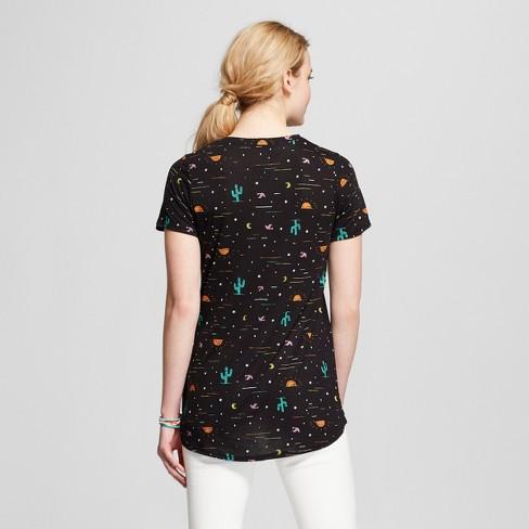 30278a3bbb Women s Desert Night Cactus Short Sleeve Crew Neck T-shirt - Modern Lux  (Juniors ) - Black   Target