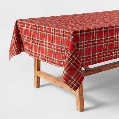 "120"" x 60"" Cotton Plaid Tablecloth Red - Threshold™"
