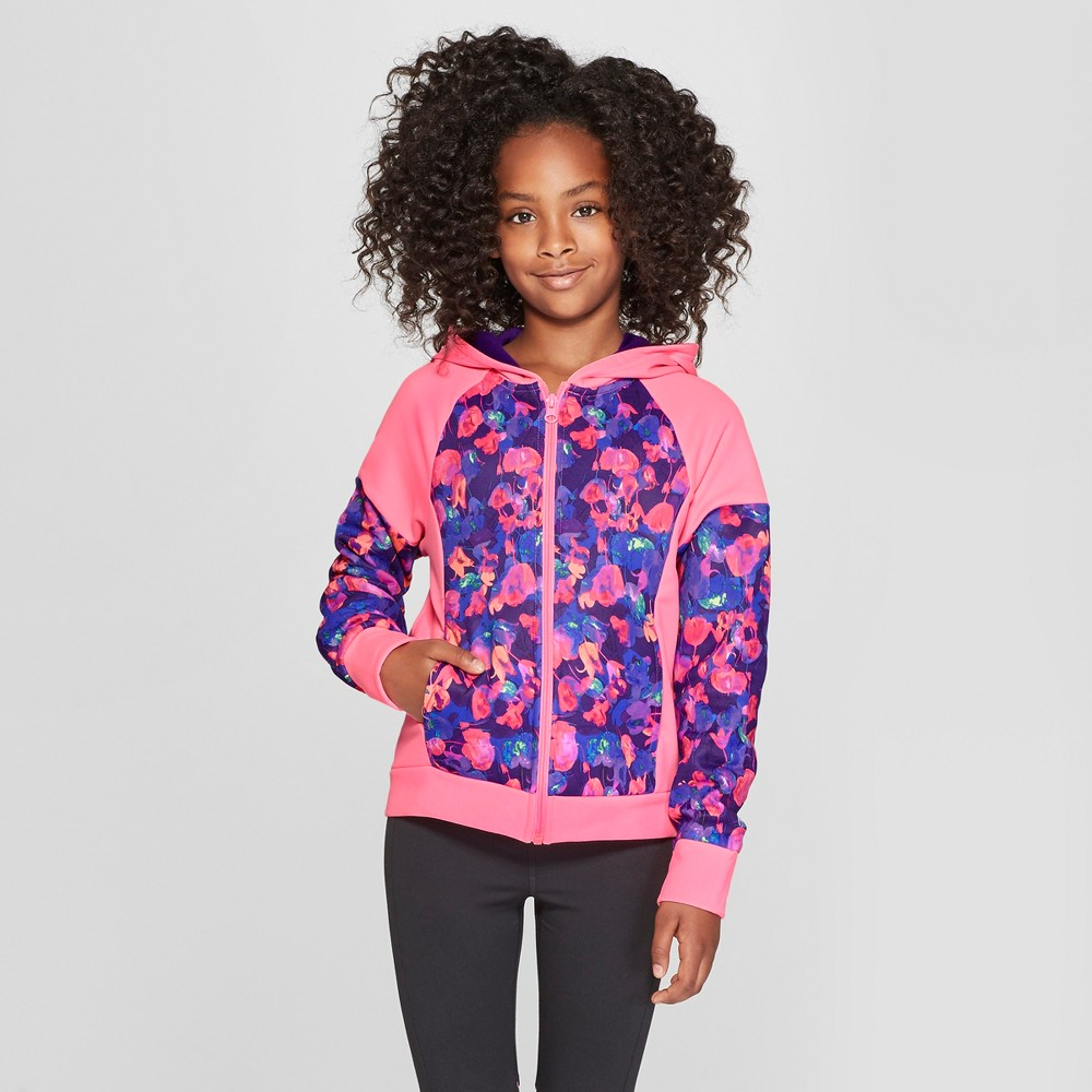 Girls' Printed Tech Fleece Full Zip Hoodie - C9 Champion Light Pink Tulips Multi Print XL, Purple
